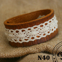Handmade Leather Lace Bracelet Cuff -  Wristband Cuff - Women Bracelet - Rustic, Country Design - Made in Denmark - Craftive Design
