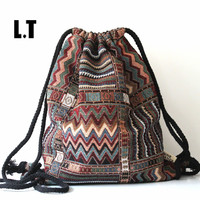 Backpack Female Gypsy Bohemian Boho Chic Aztec Folk Tribal Ethnic Fabric Brown String Drawstring Backpack Bag