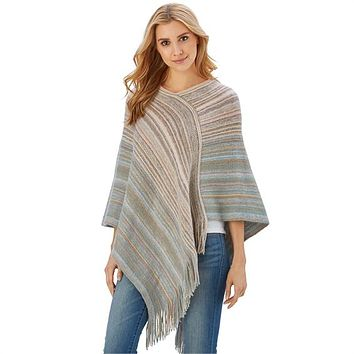 TWO'S COMPANY KNIT STRIPE PONCHO A/2 ASSORTED 2 COLORS