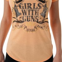 Crossing Pistols Tee Apricot | Girls with Guns Clothing