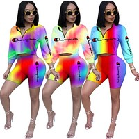 Champion New fashion letter print gradient multicolor long sleeve top and shorts two piece suit