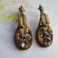 Antique Victorian 18k Aquamarine Pierced Earrings