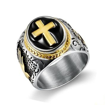 Pray God Cross ring Stainless Steel biker Hip Hop Punk Rock Male Personality halloween party supplies Vogue Jewelry G0406