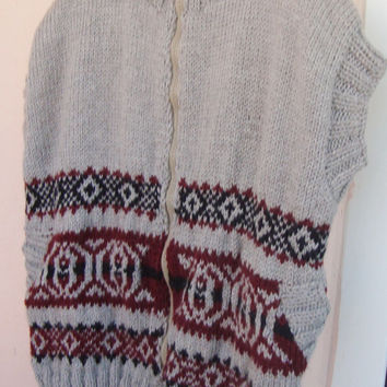 Hand Knit Men Vest Sweater / XXL Men Vest Sweater Fathers day Gift for dad, for husband