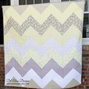Yellow Gray Chevron Quilt, Lap or Baby Quilt, Floral, Polk Dots, Cherry Blossoms, Long Arm Quilted