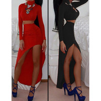 FASHION LONG-SLEEVED DRESS TWO-PIECE