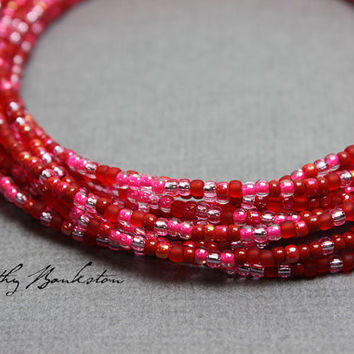 Red Pink Seed Bead Necklaces-Red and Pink Beaded Necklaces-Red Layering Necklaces-Dainty Red Necklaces-Long Red Necklaces-Kathy Bankston