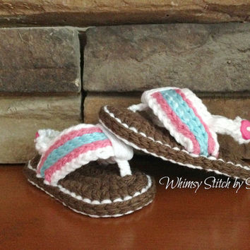Crochet Baby Girl Flip Flop Sandals-- Made to Order