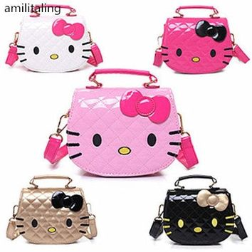 New Women Girl Hello kitty Messenger Bag with Shoulder Strap handbag purse AA-5177