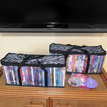 Evelots Portable DVD Blu-Ray-Video Games- Storage Bags-See Thru-Zebra Top-Set/2