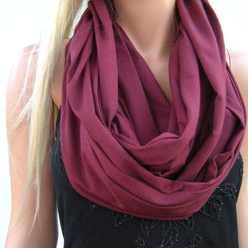 Burgundy Bordeaux Merlot  infinity scarf  Nomad Cowl Heavy weight cotton cowl  Circle loop scarf