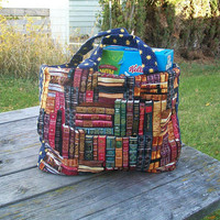 Library of Books Tote Bag Reusable Grocery Bag Ready to Ship Shopping Tote