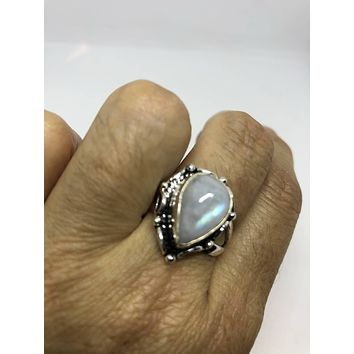 Vintage Genuine Blue White Rainbow Moonstone ring