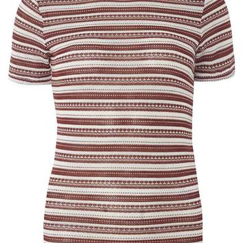 Berry and Ivory stripe knitted Tee