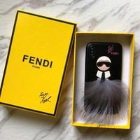 FENDI Fashionable Couple Cute Plush Mobile Phone Cover Case For iphone 6 6s 6plus 6s-plus 7 7plus 8 8plus X XSMax XR Black