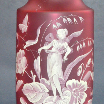 Cranberry Cameo Glass Florentine Vase / Art Nouveau Cameo Glass / Florentine Vase / Cameo Glass / Antique Cameo Glass