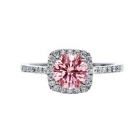 1.51 CARATS Pink & white round halo diamonds anniversary ring gold white 14K
