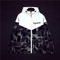 Supreme Popular Women Men Hoodie Zipper Cardigan Sweatshirt Jacket Coat Windbreaker Sportswea Camouflage Leaf Couple Windbreaker Coat I