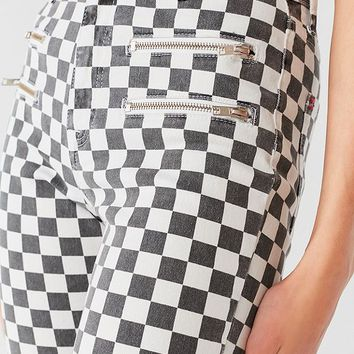 BDG Twig High-Rise Skinny Jean – Checkered Zip | Urban Outfitters