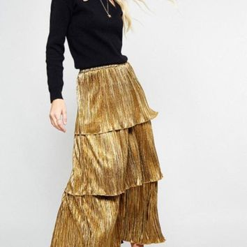 'tinsley' gold tiered midi skirt