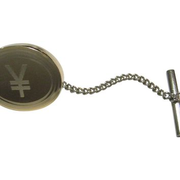 Gold Toned Etched Oval Japanese Yen Currency Sign Tie Tack