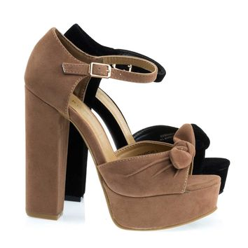 Tournament66 Retro Open Toe Chunky Block Heel Sandal On Platform & Ankle Strap