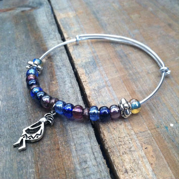 Beaded Bangle Bracelet - Kokopelli Charm Bracelet, Blue Bangle Bracelet - Kokopelli bracelet - Native Style