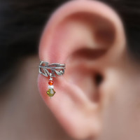 Ear Cuff Sterling Silver Handcrafted Leaf Textured Genuine pearl/Carnelian/Swarovsky Crystal Cartilage/catchless/helix