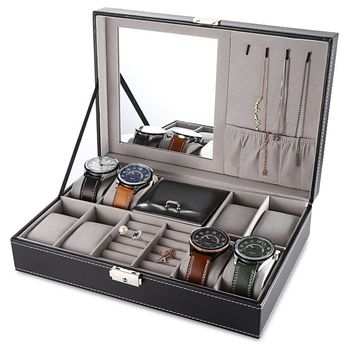8 Watch Display PU Leather Box Jewelry Case Storage Organizer