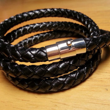 Triple Wrap Leather Bracelet - Braided Leather Bracelet, Mens Leather Jewelry, Magnetic Clasp Bracelet, Leather Necklace