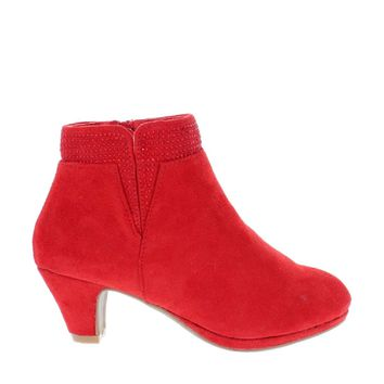Low Heel Rhinestone Kids Bootie (RED)