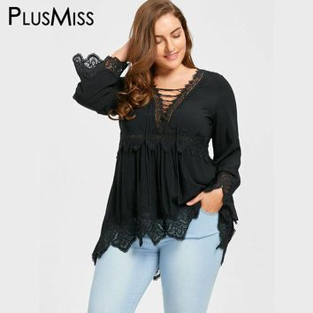 Plus Size 5XL Bell Flare Sleeve Lace Up Plunging Blouse Shirt Women Clothes Autumn Fall 2017 Vintage Sexy Lace Crochet Tops