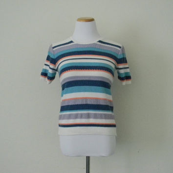 FREE usa SHIPPING Vintage 1980s women's pullover knit blouse striped top short sleeves blue white scoop neck cotton size S petite