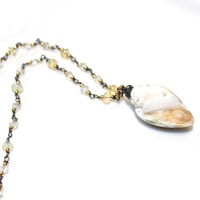 Druzy Shell Necklace Beach Necklace Fossil Shell Necklace Drusy Necklace Opals As Seen at GBK Gift Lounge Golden Globe Awards Opal Necklace