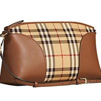 DCCKNY1 Burberry Women's Horseferry Check and Leather Clutch Bag Honey Tan