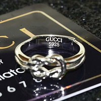 GUCCI Fashion New Hollow Personality Ring Sterling Silver Women Men Silver