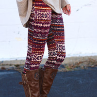 Nordic Print Plush Lined Leggings {Berry Mix}