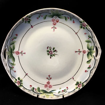 Double Handled Hand Painted Porcelain Nippon Platter with Center Apple Blossom