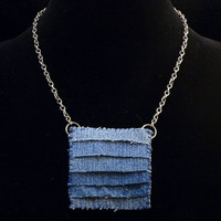 recycled denim square gradient pendant on silver toned chain necklace (almost choker)
