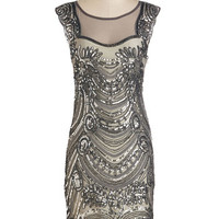 ModCloth Mid-length Cap Sleeves Sheath Deco-dent Evening Dress