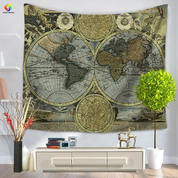 Wall Tapestries Home Decor Retro World Map Tapestry