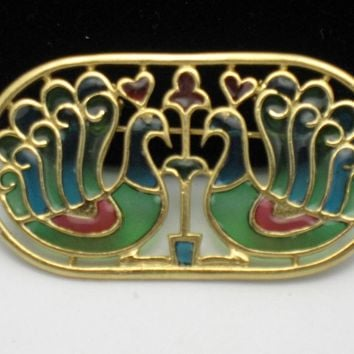 CROWN TRIFARI Plique A Jour Stained Glass Peacocks  Brooch