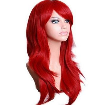 ac DCCKO2Q QQXCAIW Long Wavy Cosplay Wig Red Green Puprle Pink Black Blue Sliver Gray Blonde Brown 70 Cm Synthetic Hair Wigs