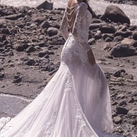 [ USD$ 499 ] Impressive Trumpet-Mermaid Bateau Natural Chapel Train Tulle and Lace Ivory/Silver Cloud Long Sleeve Open Back Wedding Dress with Appliques and Beading LD5064