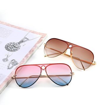 Oversize Ocean Lenses Aviation Gradient Lenses Vintage Rimless Pilot Sun Glasses