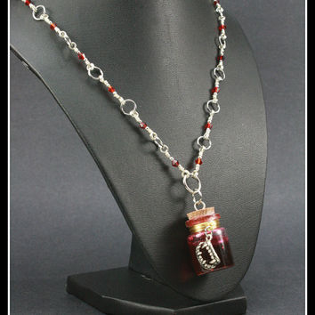 Vampire Blood Vial Pendant on Handcrafted Necklace, One of a Kind OOAK, Large Bottle Vial 30mm x 20mm
