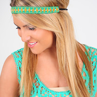 Say You Do Headband: Green/Gold - One