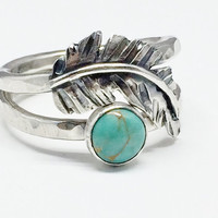 Sterling Silver Turquoise Feather Ring, Stacking Ring Set, Real Turquoise, Feather jewelry, boho jewelry
