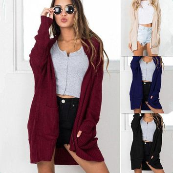 DCCKHQ6 Women'S Long Sleeve Knitting Cardigan Jacket