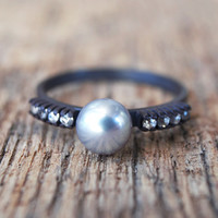 White sapphire and silver freshwater pearl on blackened silver, ONE OFF